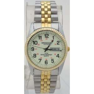 Quartz Men watch Glow in Drak Dial With Numbers Day Date Two Tone Band