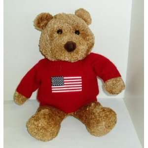Saks Department Stores 12 Teddy Bear Plush Wearing a Red Flag Sweater
