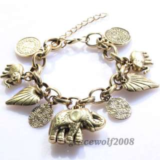 vintage Antique Brass Bracelet with 9 Charms Jewelry 10.9 Inch ZX2