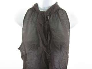 VIOLETTE Brown Sheer Sleeveless Blouse Tank Top Shirt S