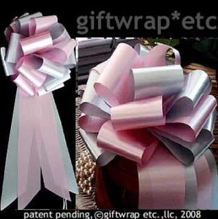 10 BIG PINK SILVER PULL BOW GIFT WEDDING PEW DECORATION