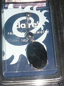 NIP CLAIRES BLACK OVAL CUT CRYSTAL GEM BELLY RING 14G