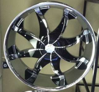 20 New CHROME Wheels Rims+Tires PKG Black INSERTS ROCKNSTARR 608