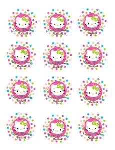 HELLO KITTY Edible Custom Cupcake Image Party Favor