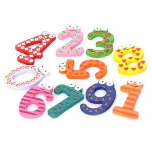 Colorful 0 9 Arabic Numbers Wooden Fridge Magnet Toys (10