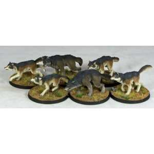 Miniatures (Wilderness Encounters) Wolf Pack (10) Toys & Games