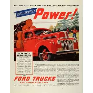 1945 Ad Vintage Red Ford Heavy Duty Trucks Commercial Hauling Lumber