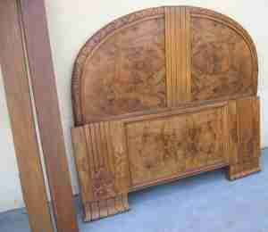 REF # 8046   French Art Deco Bed   carved and burled walnut circa 1930