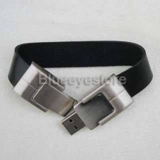 2GB Black Leather Bracelet USB Flash Memory Pen Drive
