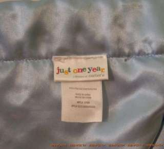 Carters Just One Year Blue Minky Dot Satin Baby Blanket