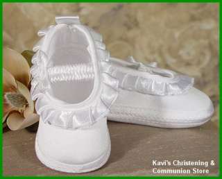 Baby Girls White Christening Baptism Shoes Satin 0 9M