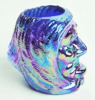 Cobalt Blue Carnival Glass Witch Head Toothpick Holder