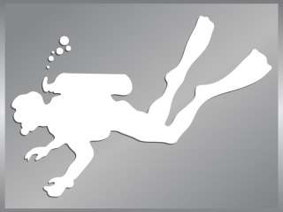SCUBA Diver silhouette cut vinyl decal Diving Stickers