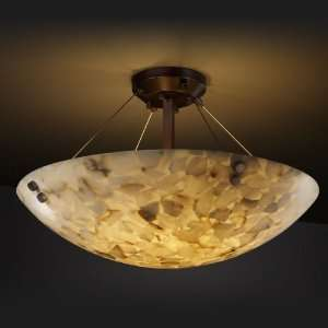 Dark Bronze Alabaster Rocks Semi Flush Ceiling Fixture from the Alabas