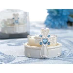 White Cross Candle Holder w/ Blue Crystal Accents