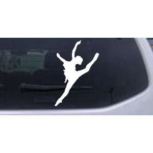 Dancer Silhouettes Car Window Wall Laptop Decal Sticker    White 24in