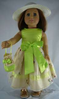 Spring Green Dress, Purse & Hat fits American Girl Doll Clothes