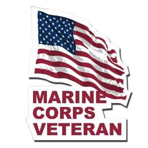 US Marine Corps Veteran with American Flag Decal Sticker 5
