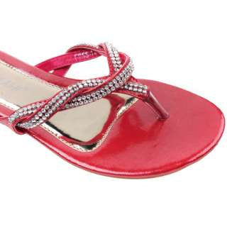Red pu leather diamante evening dress ladies flop summer sandal shoes