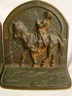 Antique CAST IRON Old ART DECO Era DON QUIXOTE Figural MAN & HORSE
