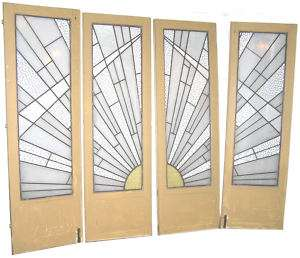 Set of 4 French Art Deco Stained Glass Doors & Frame