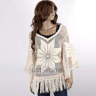 Fashion Casual Womens Girls Tassel Hem Crochet Flower Sweater Smock
