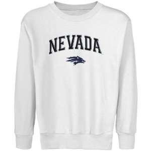 Wolf Pack Youth White Logo Arch Applique Crew Neck Fleece Sweatshirt