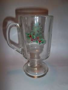 Luminarc NOEL Footed Glass Mug Christmas Tree Holly