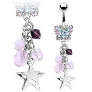 316L Surgical Steel 2 Tone Gemmed Butterfly Belly Ring