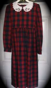 THERESE BOUTIQUE Girls dress 10 Red Linsey Plaid Christmas Holiday