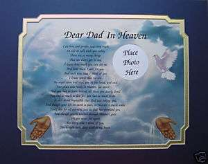 DEAR DAD IN HEAVEN MEMORIAL POEM GIFT LOSS OF LOVED ONE