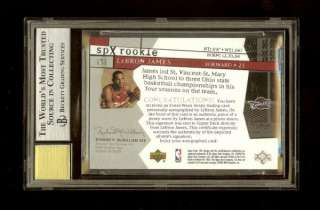 03 04 LEBRON JAMES SPx AUTO JERSEY ROOKIE RC BGS 9/10