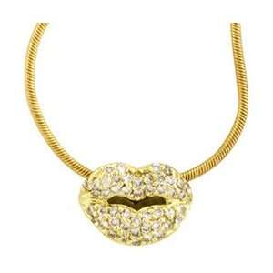 18K Yellow Gold Diamond Lips Pendant Necklace Jewelry