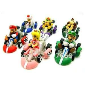 super mario bros. kart pull back car figures 6pcs 200set/lot Toys