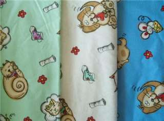CATS✄DOGS PUPPY BLUE GREEN OR WHITE SOFT FLANNEL FABRIC