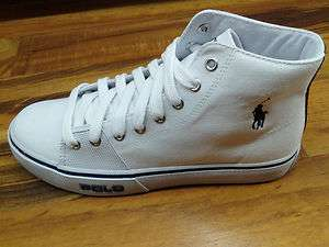 Polo Ralph Lauren RL Men Cantor Hi High Canvas White Shoe 816155644110