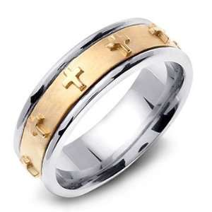 14K Two Tone Gold Christian Cross Handmade Wedding Band Ring Jewelry