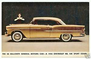Postcard 1955 Chevolet Chevy Bel Air 50 millionth gold