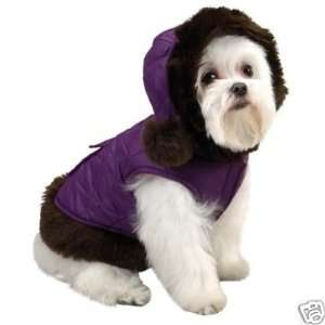 Quilted Dog Coat Jacket w/Pom Poms PURPLE TEACUP