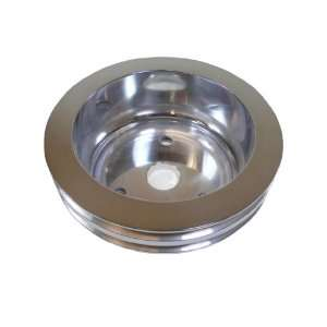 Racer Performance Chevy Small Block Polished Aluminum Crank Pulley   2