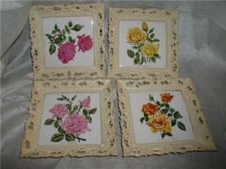 Vintage Shabby Chic FRAMED TRIVETS Antique ROSES