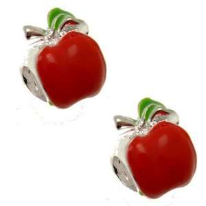 Acosta Beads   Red Enamel Apple Spacer Bead   Slide on & Off Charms