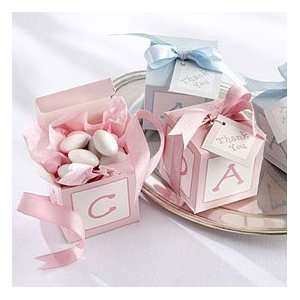 Classic Baby Block Favor Boxes with Imprinted Ribbon