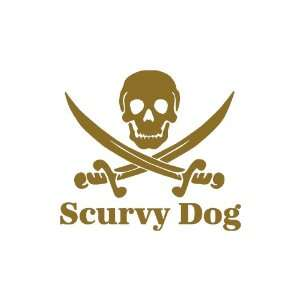Scurvy Dog Skull small 3 Tall GOLD vinyl window decal