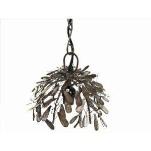 Recycled Raw Metal Mistletoe Pendant Light Fixture