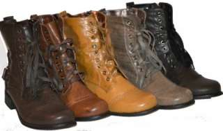 Womens Lace Up Military Combat Boots in Five Colors, S, NIB