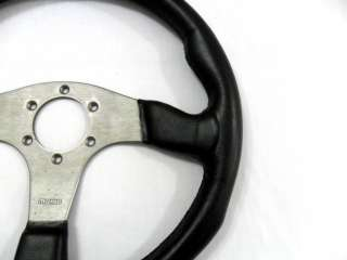 MOMO GENUINE BLACK LEATHER RACE STEERING WHEEL 350MM