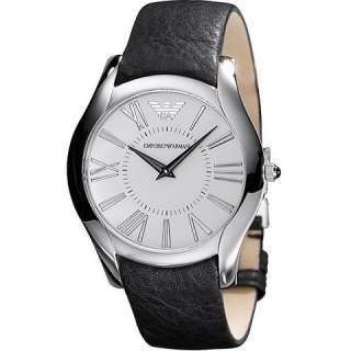 Emporio Armani Mens AR2020 Classic Black Leather Band Watch