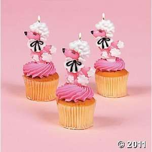 12 Pink Poodle Shaped Cake Topper Candles Toys & Games