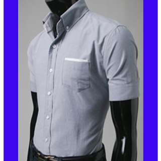 Bros mens Casual Shirts Shorts Sleeve Oxford Gray .19